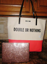 Kate Spade Bon Shopper Taft St Double Or Nothing Dice NWT + PINK GLITTER GIA