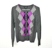 Apt. 9 100% Cashmere Cardigan Sweater Women's Small Argyle Gray Purple