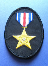 BRAND NEW SILVER STAR MILITARY PATRIOTIC BIKER IRON ON PATCH