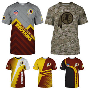 Washington Redskins Mens Football T Shirts Summer Casual Shirts Short Sleeve Tee