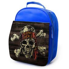 Calavera Pirata Personalizado Almuerzo Bolso Azul Escuela Aislado Lunchbox niños SH187