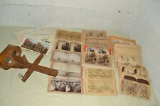 ANTIQUE STEREOSCOPE VIEWER LOT: 75 PHOTO CARDS- 10TH CAVALRY BUFFALO SOLDIER