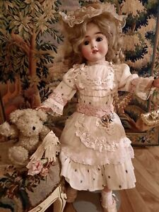 "Vintage French victorian  dress 15"" for antique bisque German doll 24-26"""