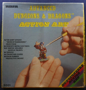 12 Grenadier Metal Miniatures AD&D 8001 Action Art 1980 w/ box no paint like TSR