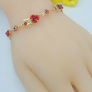 14K Gold Plated Red Evil Eye Amulet Red Rosed and Butterflies. Oro Laminado