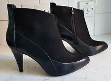 M&S LIMITED WOMENS BLACK FAUX LEATHER SUEDE ANKLE BOOTS SIZE UK 5 EU 38