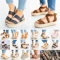 Women Platform Sandals Espadrilles Ankle Strap Buckle Comfy Peep Toe Flats Shoes