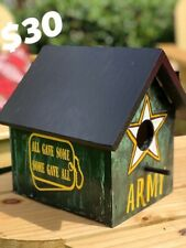 Handcrafted Military Vet~Armed Forces Birdhouse~Army, Air Force, Navy, Marines