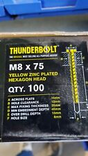 Thunder Bolts Hex Head  Concrete Screw Fixing Anchor - M8x75mm - Box of 100