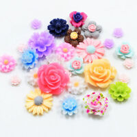 50 Resin Beads Rose Flower Flat Back Embellishment Cabochons Craft Decor DIY