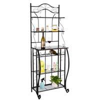 5 Tier Metal Wine Bottle Rack Bar Storage Shelves Table Organizer Holder Black