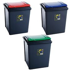 Recycle Bins Pack Of 3 50 litre Outdoor Garden Bottle Storage Box DustBin Waste