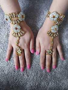 Indian Bridal Crystal Hand Panja Jewellery