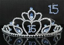 Gorgeous Quinceanera Sweet 16 & Sweet 15 Sparkling Blue Crystal Heart Tiara