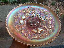 Northwood Carnival Glass Three Fruits Marigold Pie Crust Edge Plate Basketweave
