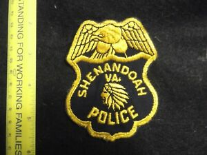 Virginia Shenandoah City Police patch 1960s Indian head cheesecloth back vintage
