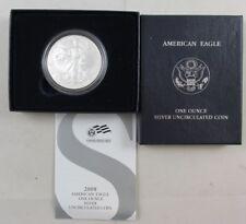 2008-W 1 OZT SILVER AMERICAN EAGLE UNCIRCULATED COIN W/ U.S. MINT BOX & COA