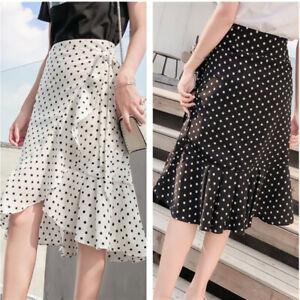 Women Wrap Skirt Fishtail Beach Ruffle Chiffon Polka Dots Midi Summer Casual