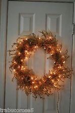 "Amazing Pre-lit Gold Iridescent Iced Glitter Christmas/Holiday Door Wreath/24"""