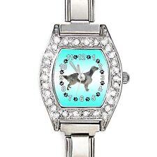 English Setter CZ Lady Stainless Steel Italian Charm Bracelet Wrist Watch BJ1093