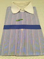 Vtg TURNBULL & ASSER Mens Blue w/ Pink & White Stripes Cotton Dress Shirt Sz 15
