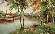 Pretty Postcard Painting of THE LOCK AT IFFLEY,  OXFORDSHIRE.  (A2)