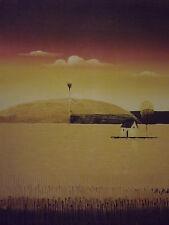 Minimo Marrone Campagna Casa sull'albero grande dipinto a olio su tela paesaggio moderno