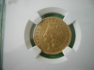 NGC 1889  $3.00 PRINCESS GOLD PIECE  VF (VERY RARE)  2,429  MINTED. LAST YEAR