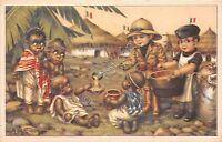 Cartolina - Illustrata- Bertiglia - Etiopia - Balilla e piccoli indigeni -rancio