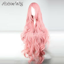 """Vocaloid Megurine Luka 34"""" Long Curly Wavy Pink Hair Anime Cosplay Wig"""