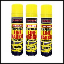 3 x Yellow Temp Line Marking Spray 300m Fast Drying Paint Road Marker Construct