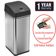 New 13-Gallon Touch-Free Sensor Automatic Stainless-Steel Trash Can base model