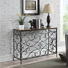 Console Table Metal Wood Antique Finish Rustic Entryway Sofa Hallway Furniture