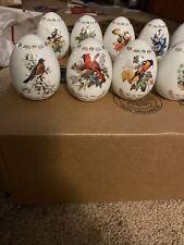 Porcelain Songbird Eggs w/Stands by Roger Peterson Set of 12 Vg Danbury Mint