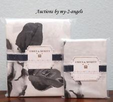 Pottery Barn Teen Emily & Meritt BED OF ROSES Twin XL Duvet + Sham BLACK WHITE