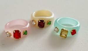 Jewel Perspex Resin Gem Ring Cream Pink Blue Other Bloggers Stories 6 / L