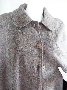Cape d'hiver Vintage Fait Main Fait Maison tweed doublée fourrure Taille unique