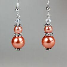 Coral orange pearls crystal vintage silver drop wedding bridesmaid earrings