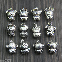 12pcs Classic S925 Silver Pendant Lucky Twelve Chinese Zodiac Signs 14*18.5mm