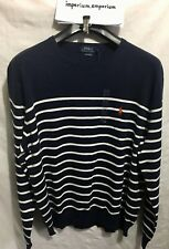 Men's Polo Ralph Lauren Long Sleeve Striped Pullover Jumper Blue/White Size XXL