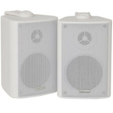 "Pair 3"" 2 Way Compact Stereo HiFi Speakers -60W 8Ohm-White Mini Wall Mounted ABS"