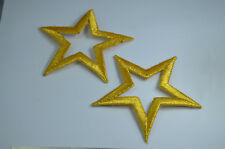 2Ct GOLDEN GOLD STAR STARS 3' Embroidered Iron Sew On Patch Badge Applique