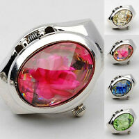 AM_ WOMEN'S FASHION RHINESTONE RING WATCH OVAL COVER MINI QUARTZ WATCH NICE