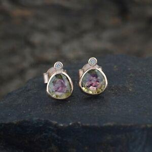 Watermelon Tourmaline Gemstone Diamond Stud Earrings Solid 14K Yellow Gold Fine
