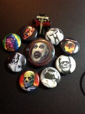 HORROR Themed Button Pins Dracula Frankenstein Exorcist