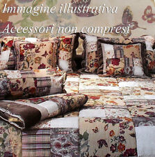 TRAPUNTA INVERNALE VERO PATCHWORK DUE PIAZZE MATRIMONIALE SHABBY COUNTRY FIORI F
