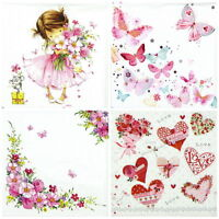 4x Paper Napkins for Decoupage Decopatch Craft - Pink World Mix