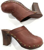 Roxy Yodel Red Maroon Leather Heeled Clogs Mules Womens Size 8
