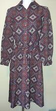 Schrader sport New York vintage burgundy paisley print mod shirt dress size 6