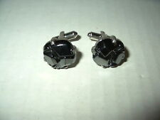 Vintage Signed SARAH COVENTRY Silvertone Alaska Black Diamond Hematite Cufflinks